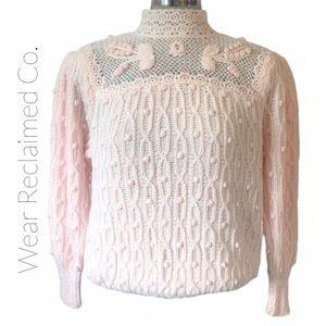 VINTAGE LERA FERRANTE 80's Cotton Crochet Sweater